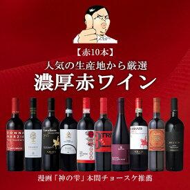 本間チョースケ厳選【赤ワイン10本セット】イタリア政府公認ソムリエと本間チョースケ推薦10本セット 【いままでの人気のワインをまとめました】赤ワイン 金賞ワイン多数 EPA ワインセット 家飲み