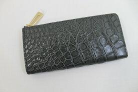 クロコダイル 長財布 L字ファスナー ヘンローン社製 マット仕上げ クロコダイル 財布 上質素材 最高級 グレー