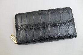 クロコダイル 長財布 メンズ レディース クロコダイル 財布 ヴィンテージ ヘンローン社製 ラウンドファスナー グレー
