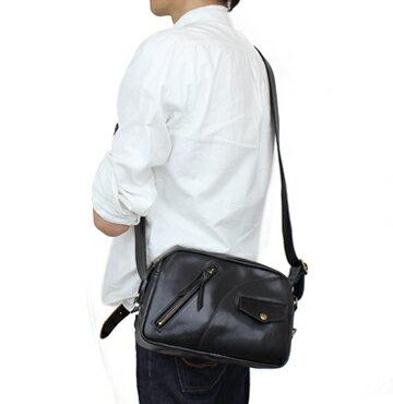 【ショルダーバッグ】ヌメ革ライダースショルダーバッグ 横型 革ジャン風(牛革/日本製)