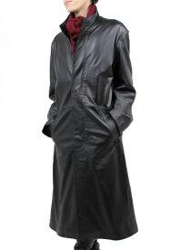 【レザーコート】レザーロングコート スタンド襟 120cm S〜3L(羊革)