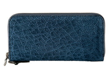 【長財布】超珍しい逸品!カバ革ラウンドファスナー長財布(カバ革/日本製)