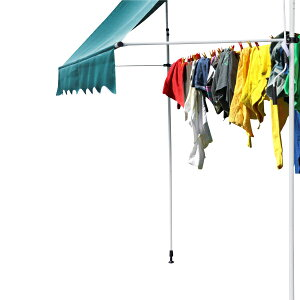 洗濯 物干し竿 黒 取付簡単 つっぱり オーニング 2M 専用 雨 夕立 梅雨時期当社テント専用 工事不要 軽量 スティール製 5kg紫外線 UVカット べランダ オープンデッキ _71128
