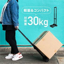 キャリーカート 折りたたみ 軽量 コンパクト 4輪 台車 対荷重30kg | 買い物 アウトドア キャンプ 灯油 キャスター スリム 収納 頑丈 荷物 運搬 折り畳み 【送料無料】