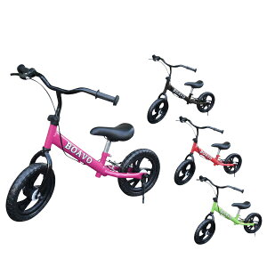 ペダルなし自転車 ブレーキ付 スタンド付 子供用 12インチ パンクレスタイヤ 4色 ランニングバイク バランスバイク トレーニングバイク キックバイク レッド ピンク グリーン ブラック 男の