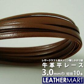 レザークラフト用かがり紐 タンニンなめし牛革平レース3mm(10本)