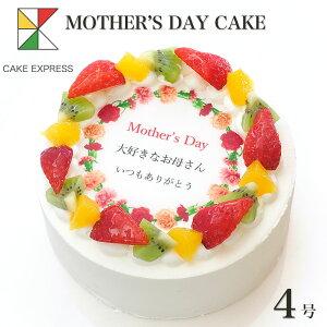 母の日ケーキ カーネーション メッセージ入りフルーツ三種生クリーム 4号敬老の日 ギフトバースデーケーキ 誕生日ケーキ 2〜3名様用 感謝状 サプライズ 冷凍