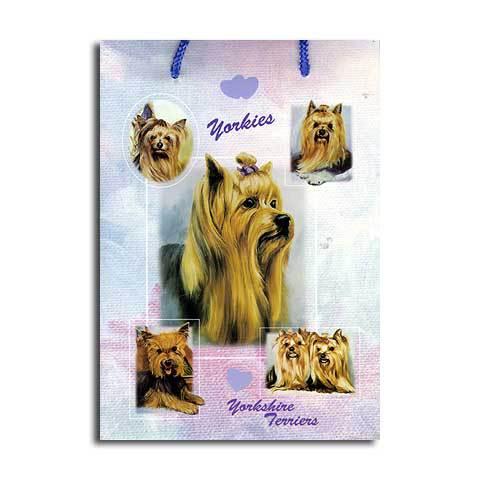 ギフトバッグ 小 ヨークシャテリア(ヨーキー) 世界的に有名な動物画家「ルス・メイステッド」さんデザイン(紙袋 犬グッズ コレクション USA デザイナーブランド) こどもの日 卒業式 プレゼント ギフト お返し ルシアン