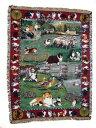 ゴブラン織りのタペストリー シェルティー W127×H182cm 犬の刺繍が素敵なラグ ベッドカバー ソファーカバー 新築祝い 贈り物 お返し …