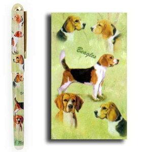【メール便OK】インクペン【ビーグル】 世界的に有名な動物画家「ルス・メイステッド」さんデザイン(ボールペン ペン 犬 グッズ 文房具 デザイナーブランド) こどもの日 卒業式 プレゼント