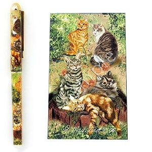 インクペン ボールペン【猫2】 世界的に有名な動物画家「ルス・メイステッド」さんデザイン ネコ 猫 グッズ 文房具 デザイナーブランド 入学祝い 卒業祝い プレゼント ギフト お返し ルシ