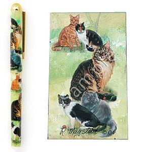 インクペン ボールペン【猫1】 世界的に有名な動物画家「ルス・メイステッド」さんデザイン ネコ 猫 グッズ 文房具 デザイナーブランド 入学祝い 卒業祝い プレゼント ギフト お返し ルシ
