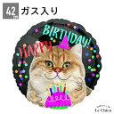 【ヘリウムガス入り】誕生日 Happy Birthday Cat !猫 バルーン電報 ギフト バースデー 装飾 パーティー 飾り付け プレゼント ねこ ネコ イベント 送料無料