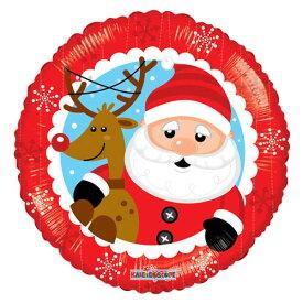 バルーン クリスマス サンタとなかよしトナカイ 赤色 45cm ヘリウム入り ツリー プレゼント 電報 ギフト 飾り付け 装飾 デコレーション ルシアン あす楽