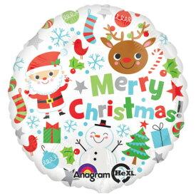 バルーン クリスマス サンタ&トナカイスノー 白色 45cm ヘリウム入り ツリー プレゼント 電報 ギフト 飾り付け 装飾 デコレーション ルシアン あす楽