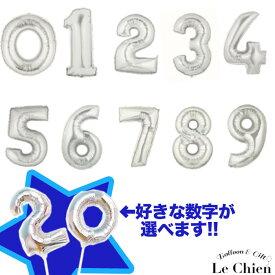 バルーン 数字 シルバー 誕生日 スティックバルーン フォトプロップス 飾り付け 0〜9 風船 ナンバー 写真 パーティーグッズ 卒業式 プレゼント デコレーション ルシアン