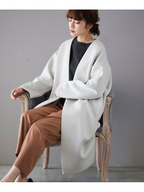 [Rakuten Fashion]ダンボールニットノーカラーコート le.coeur blanc ルクールブラン コート/ジャケット コート/ジャケットその他 グレー ブラウン【送料無料】