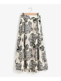 [Rakuten Fashion]フラワージャガードスカート le.coeur blanc ルクールブラン スカート ロングスカート ホワイト ブラック【送料無料】
