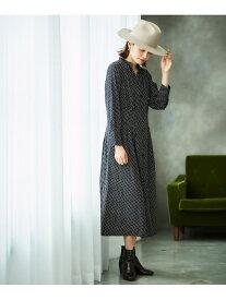 [Rakuten Fashion]ジオメトリックプリントワンピース le.coeur blanc ルクールブラン ワンピース ロングワンピース/マキシワンピース ネイビー ブラウン【送料無料】