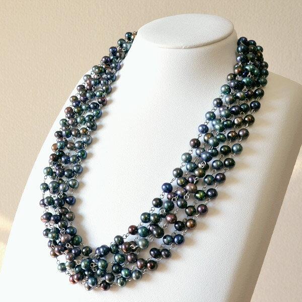 淡水真珠5連ネックレス てりてりパールたっぷり! 色彩豊かなブラック&ブラウンから選べますnm