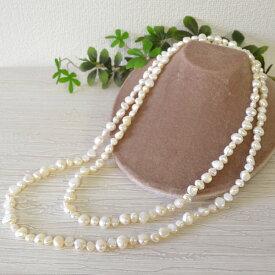 バロック 淡水真珠 120cm ロングネックレス 愛嬌のある形でキュートに♪ 90cmだとムズカシイ2連巻も簡単にできるので使い方の幅が広がります♪
