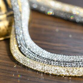 きらきらクリスタルメッシュネックレス 4mm 光またたく華やかエレガント 選べるカラー サージカルステンレス KA70 NL12840 NL1284 NL12842