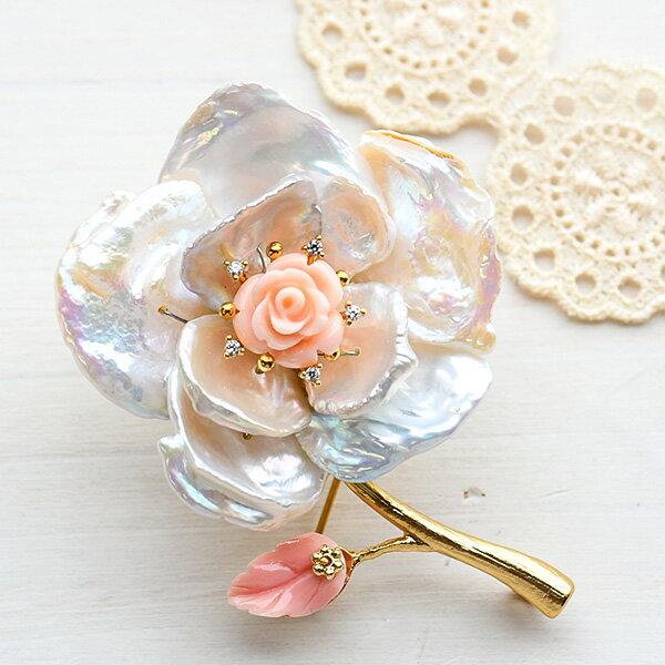バロック淡水真珠 フラワー ブローチ 虹色光沢華やかな大輪の花 KA40【メール便不可】