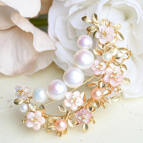 10mm 淡水真珠 ピンクマザーオブパール フラワー ブローチ ナチュラルカラーパールとシェルの華やかボリューム KA40 OB17221【メール便不可】