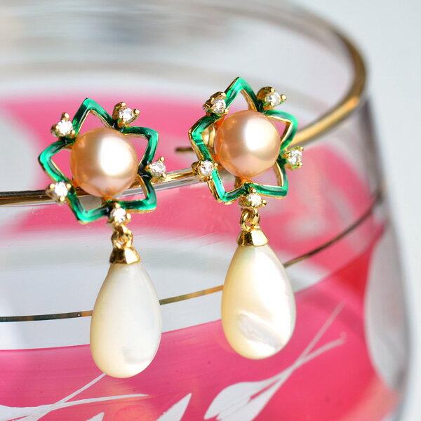 7mm特級淡水真珠&シェルスターフラワーピアス てりてりのナチュラルカラーが華やか