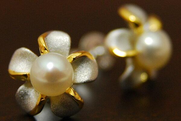大人かわいい シルバー×ゴールドのエレガントプチフラワー♪ 4mm淡水真珠フラワーピアス KA60
