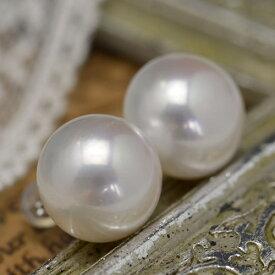 特大 13mm ホワイト ボタン 淡水真珠 ピアス イヤリング シャボン玉カラー浮かぶ超特大サイズ!品格と華やかさを放つ圧倒的存在感
