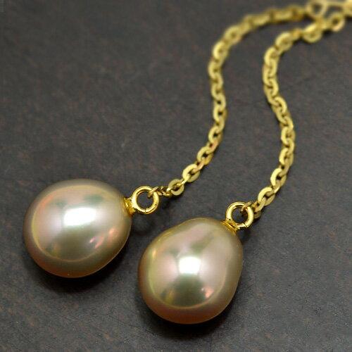 K18YG特級8mmドロップ淡水真珠ロングピアス/イヤリング メタリック淡水真珠でルコリエ一番人気のピアスをチェーンピアスにしました! しずく型がかわいい♪【メール便可】