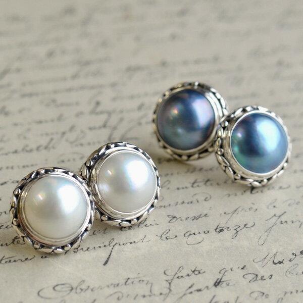 11mmマベ真珠ピアス/イヤリング ホワイト/ブルー アンティーク調のシックで上品なデザイン 女性らしくノーブル KA66