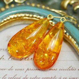 アンバー ピアス イヤリング 黄金の花びらのようにきらめくドロップ琥珀 K18YG SV925 KA03