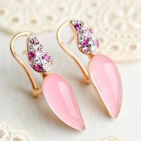 ピンククォーツ ピンクサファイア ダイヤモンド ピアス K18PG 女性らしさたっぷりうるうるピンク KA04 CON