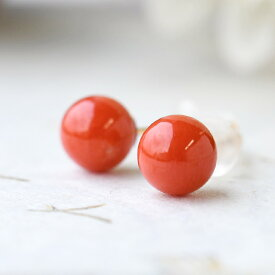 K18YG 赤珊瑚 6mm ピアス セール目玉の特価品! 地中海産 胡渡 サルジ