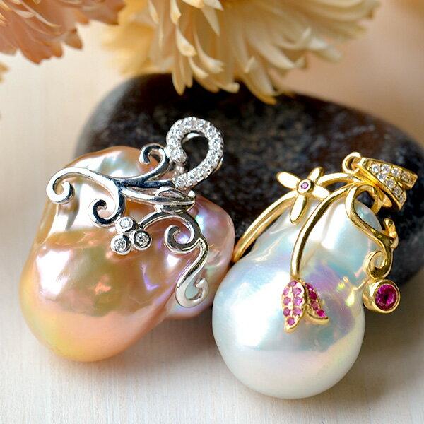 特大メタリックバロック淡水真珠ペンダントトップ 虹色浮かぶゴージャスなナチュラルカラーパール 長女誕生記念アイテム