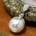 12mm バロック淡水真珠 ペンダントトップ てらてらとシャボン玉カラー浮かぶメタリックパール!