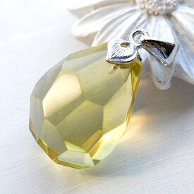 レモンクォーツ ペンダントトップ キャンディのようなキラキラ透明感♪ 大粒ラフカットがキュート KA60 LQ-28
