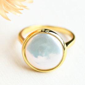 【雑誌GINGER掲載】 コインパール リング まあるい大粒真珠がキュート KA20