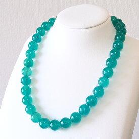 アイスアマゾナイト 12mm ネックレス マダガスカル産 みずみずしい透明感ある鮮やかな青緑 アマゾナイトシリカ NA11