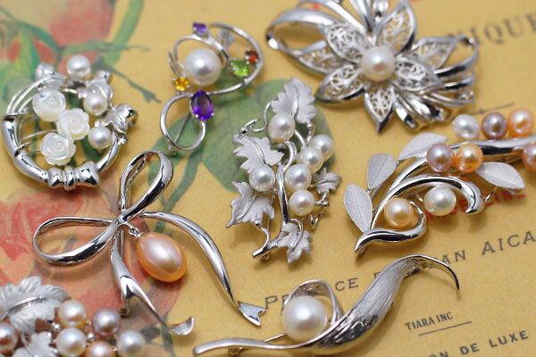 真珠や天然石を散りばめたブローチ よりどり選べる嬉しいバリエーション♪ KA60