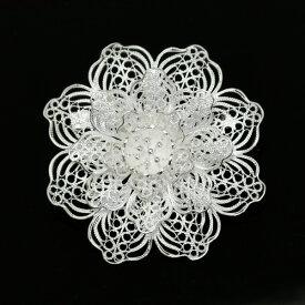 フィリグリー フラワー ブローチ ペンダント 美しい手仕事の繊細な銀線細工 ジョグジャカルタ
