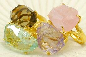 選べるラフカット天然石リング みずみずしくもゴロッと大粒のラフカットカラーストーンが可愛くて個性的♪ KA02 SR00336【メール便不可】