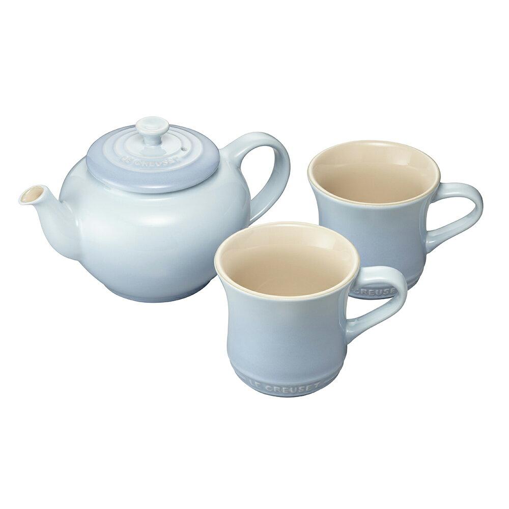 ティーポット&マグ(SS) (2個入り)セット コースタルブルー ル・クルーゼ ルクルーゼ LE CREUSET ブライダル Bridal 結婚祝い 内祝い ギフト ストーンウェア 食器 送料無料