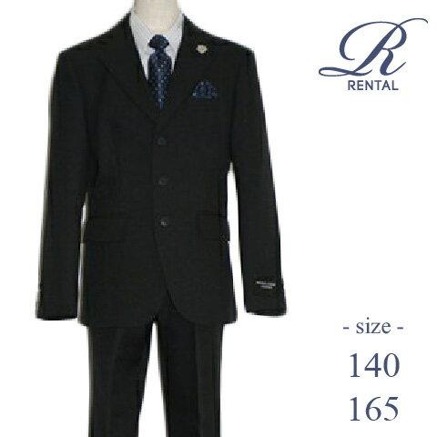 【レンタル/サイズ 140 165/b-12】MICHIKO LONDON ストライプシャツ3ボタン黒スーツ 卒業式 スーツ 男の子 男の子スーツ 卒服 ジュニアスーツ 小学生 卒業式スーツ 卒業 結婚式 フォーマル ジュニア fy16REN07