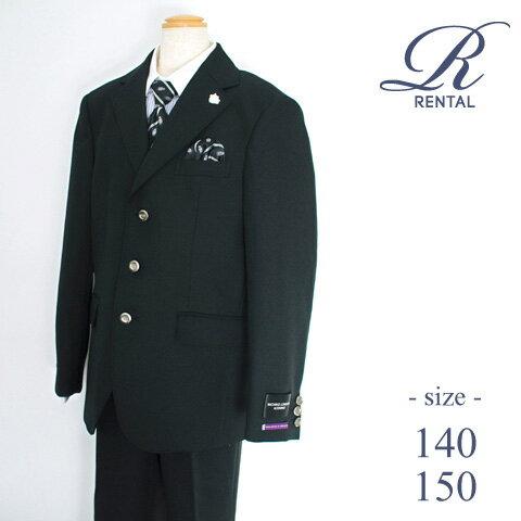 【レンタル/サイズ 140 150/b-40】卒業式 スーツ 男の子 男の子スーツ 卒服 ジュニアスーツ 小学生 卒業式スーツ 卒業 結婚式 フォーマル ジュニア MICHIKO LONDON 3つ釦ブラックスーツ(紫の紋章) fy16REN07