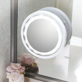 LEDライト付鏡 ブライトニングミラー 5倍LED拡大鏡 裏面吸盤付き 化粧台の鏡などに取り付け可能 ファイシャル コスメ 化粧のチェック 拡大ミラー 貼付け 洗面所 鏡台[a4979836882387]