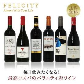 毎日飲みたい!最高コスパワイン バラエティ 赤ワイン 6本セット 第1弾 750ml×6 飲み比べ フランス イタリア スペイン 【送料無料】【包装不可】