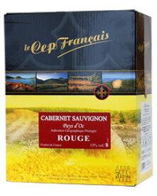 【あす楽】【包装不可】 ル セップ フランセ カベルネソーヴィニヨン IGPペイドック 3000ml ボックスワイン バックインボックス 赤ワイン